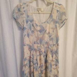 Short sleeve peach/ blue pattern dress